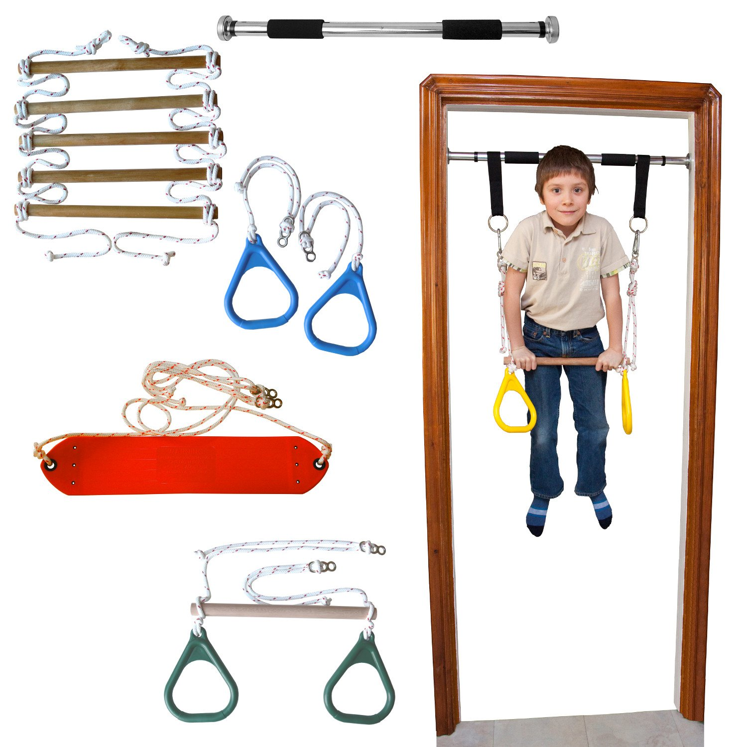 DreamGYM Doorway Gym And Indoor Swing For Children Includes Chin Up Bar,  Trapeze Bar U0026 Gym Rings Combo, Rope Ladder, Gymnastics Rings And Rope Swing  By ...