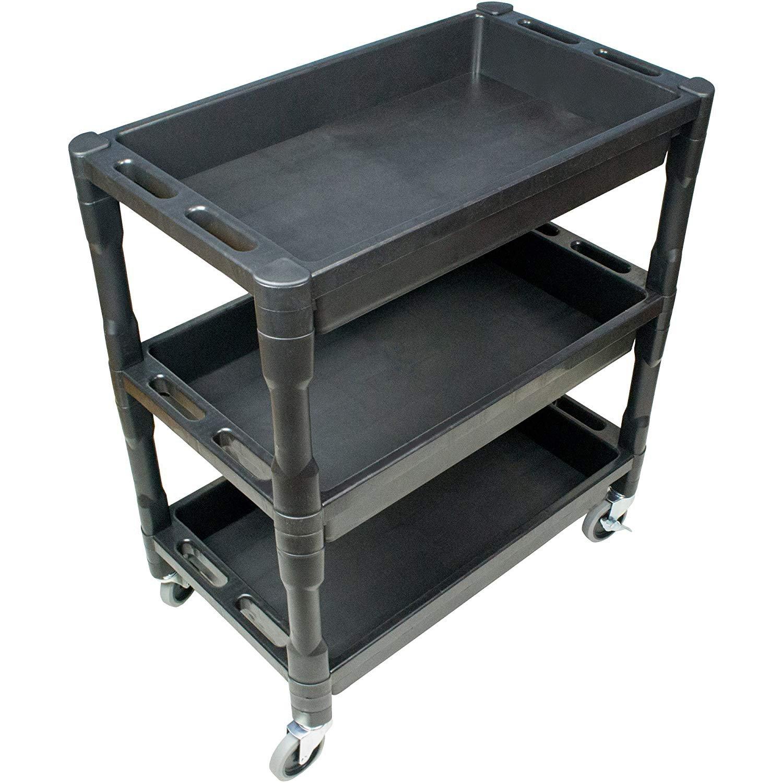 Three Shelf Utility Cart - 32'' x 18'' x 36.5'' Rolling Tool Cart with wheels for Office Or Storage - 3 Shelf Black