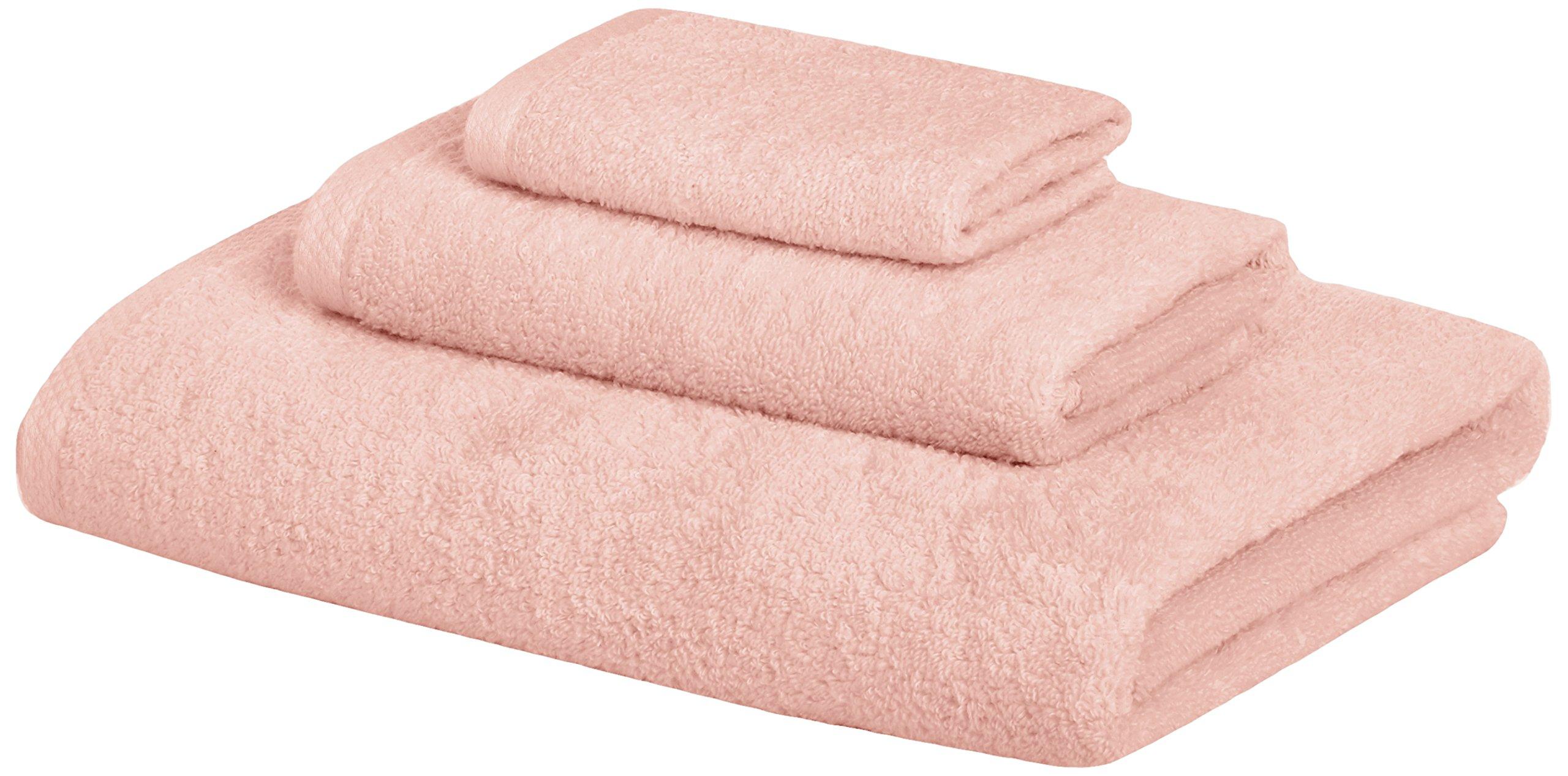 AmazonBasics Quick-Dry Towels - 100% Cotton, 3-Piece Set, Petal Pink