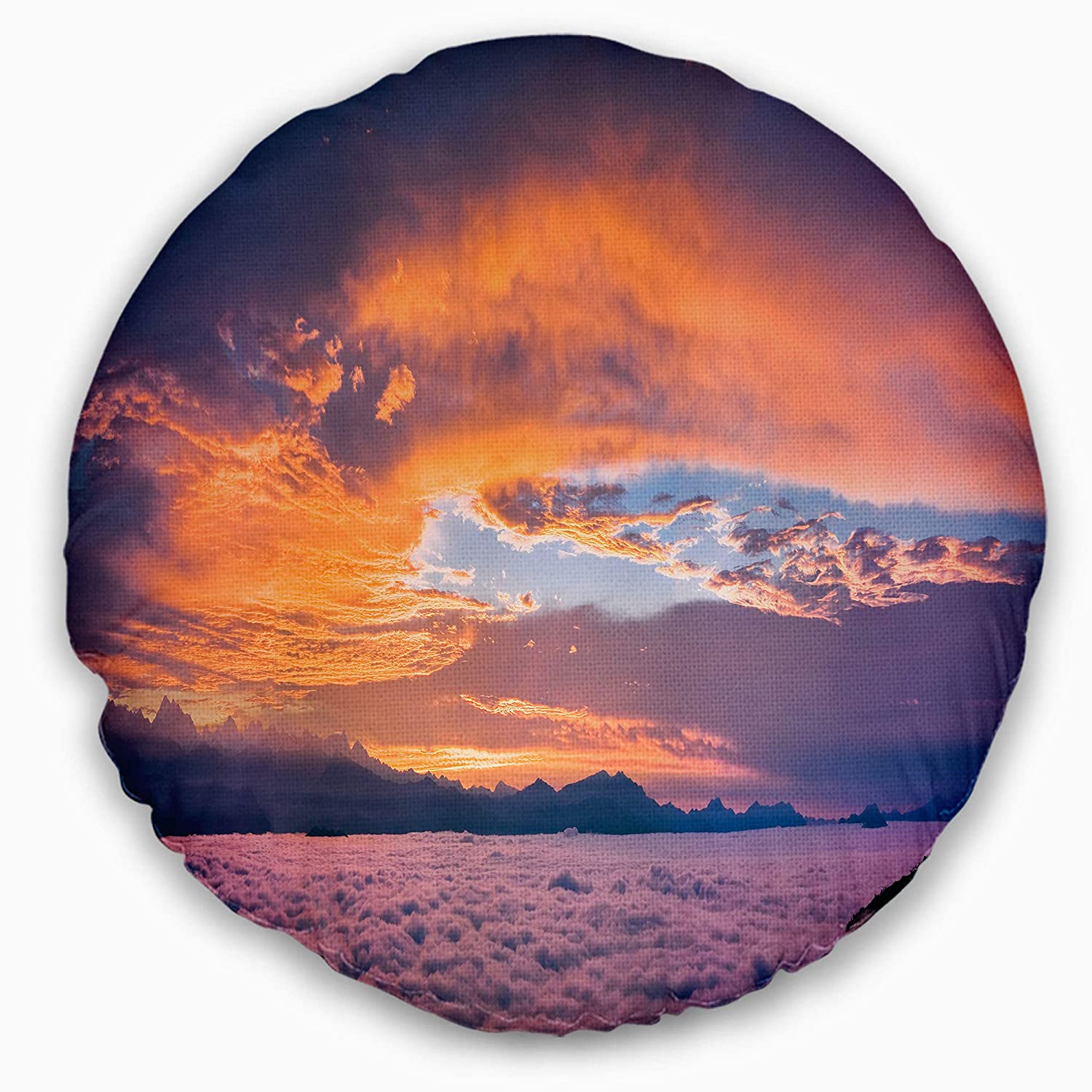 Designart CU10842-20-20-C Bright Panoramic Sunset Over Sea' Landscape Printed Round Cushion Cover for Living Room, Sofa Throw Pillow 20', Insert Side