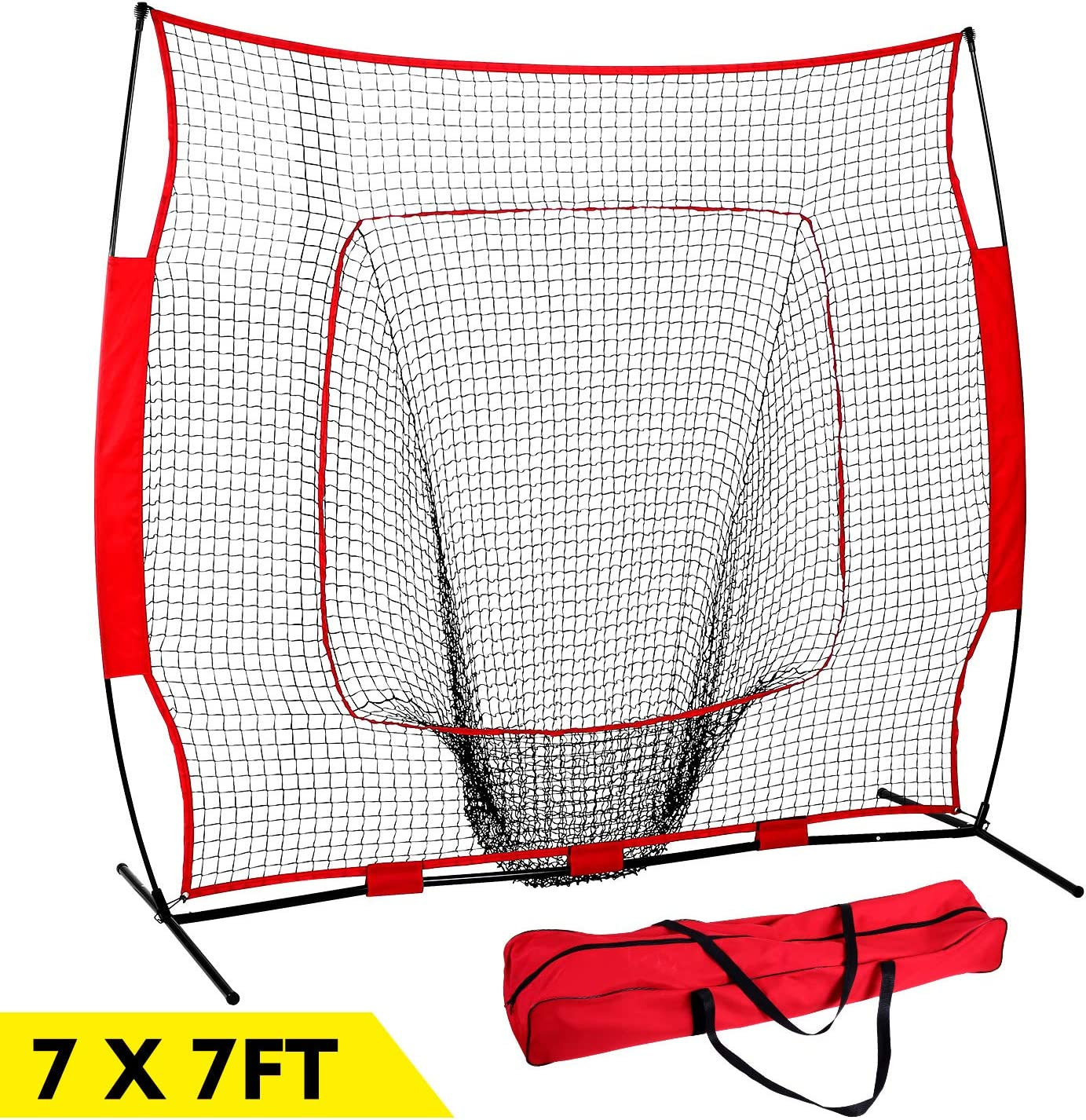GARTIO 7 7 Baseball Softball Practice Net, Hitting Pitching Batting Fielding Training Equipment with Carry Bag, Portable Easy Setup, Suit for Team or Solo All Skill Levels Training Indoor Outdoor