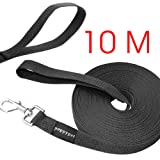 Poppypet Long Training Dog Leash, Durable Nylon Dog Leads, Rope Lead for Dogs, Dog Training Tracking Lunge Obedience Leash 10m Black