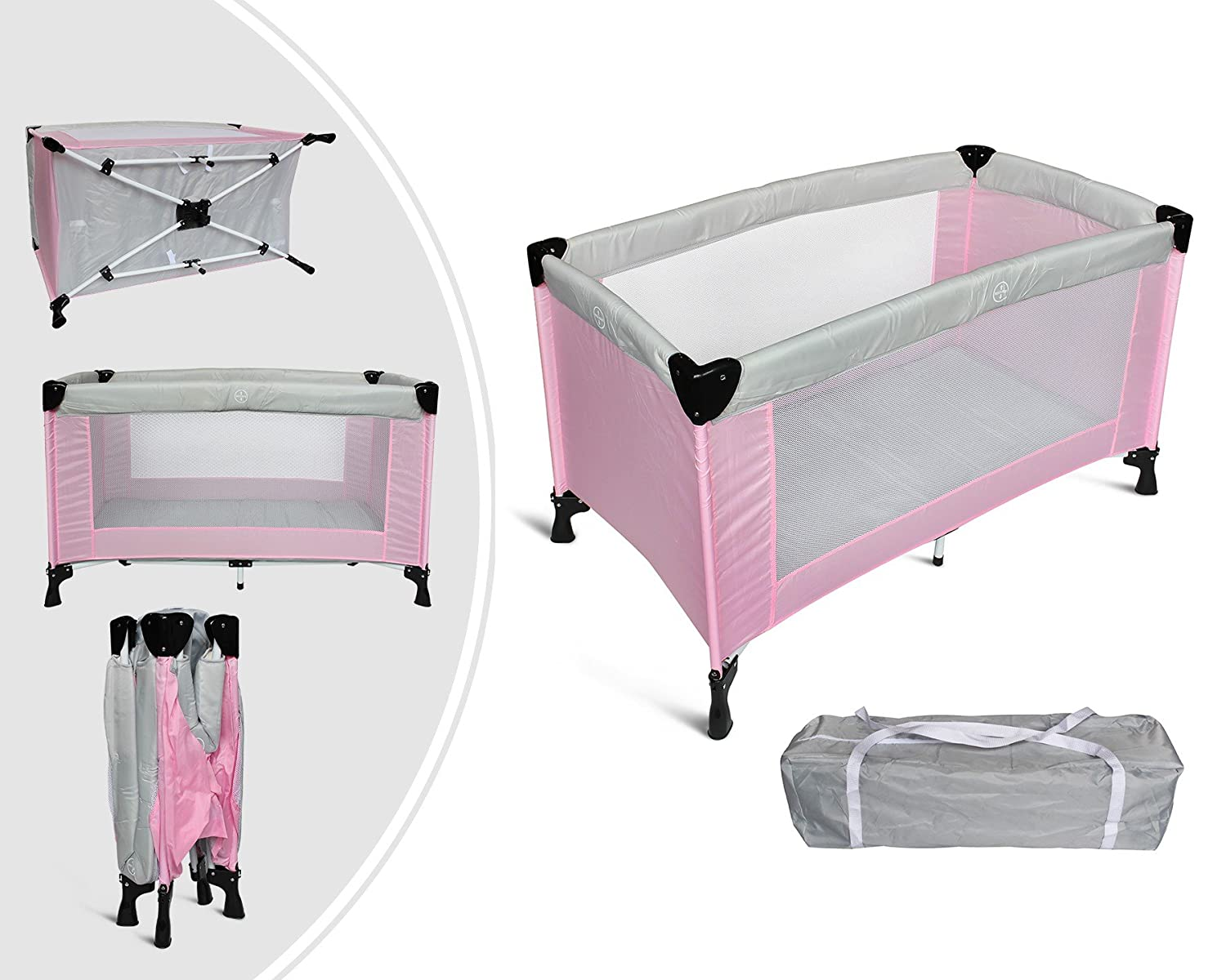 Leogreen - Baby Play Yard, Baby Safety Playpen, CE Standard, 49.2 x 25.6 x 29.9 inch, Grey/Pink, Deployed Size: 125 x 76 x 65 cm, Weight: 8.84 kg