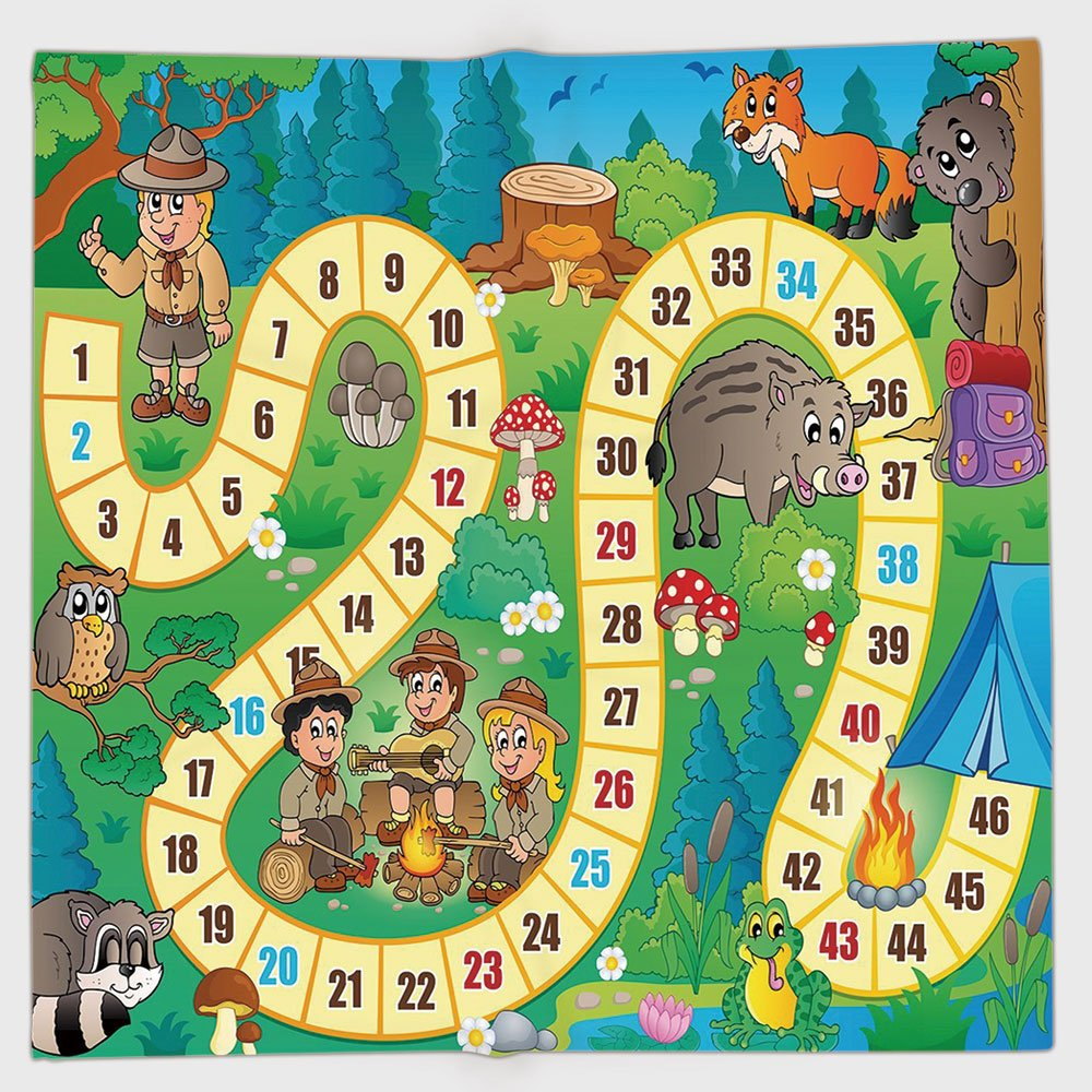 Cotton Microfiber Hand Towel,Board Game,Camping Boys and Girls in Nature Forest Animals Trees Mushrooms Daisies Fun Joy Decorative,Multicolor,for Kids, Teens, and Adults,One Side Printing