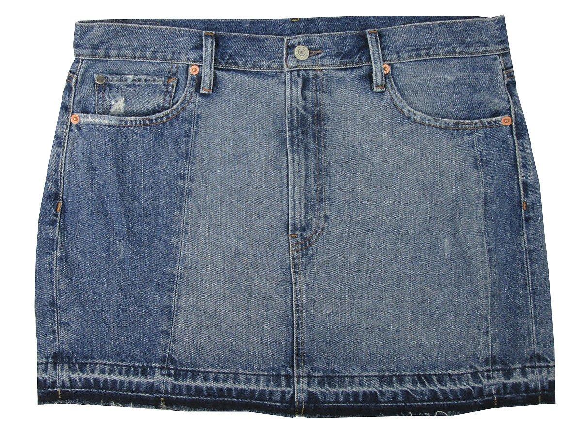 RALPH LAUREN Denim & Supply Women's Frayed Denim Skirt (32, Curtis)