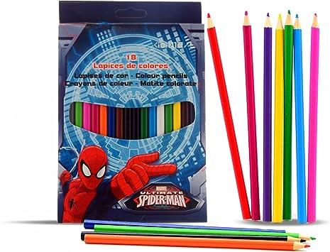 CAJA 18 LAPICES COLOR SPIDERMAN: Amazon.es: Juguetes y ...