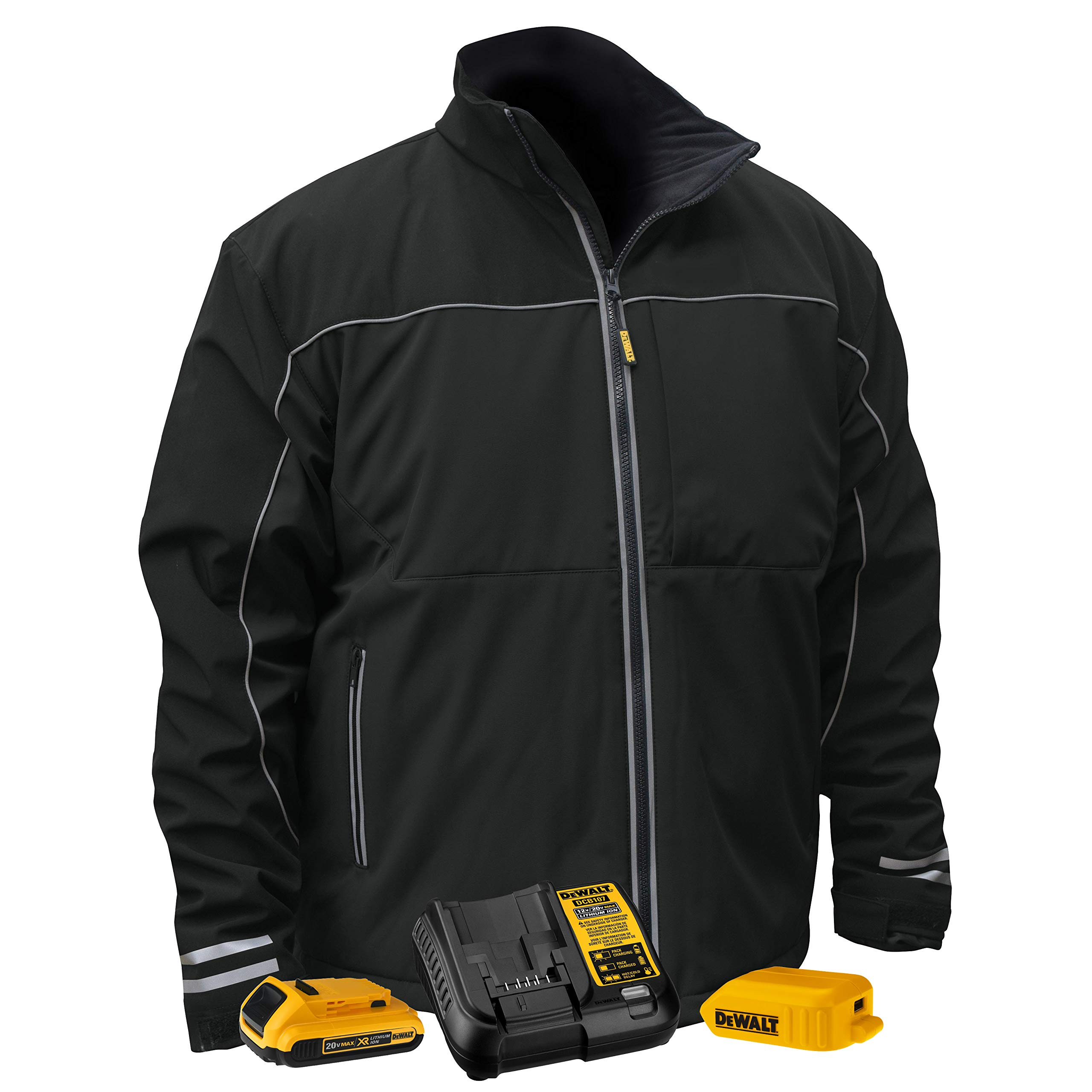 DEWALT DCHJ072D1-L Heated Lightweight Soft Shell Jacket, L, Black by DEWALT (Image #1)