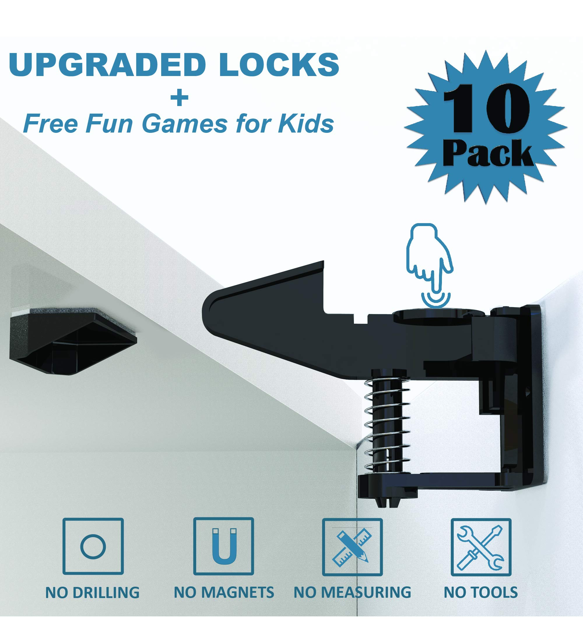 Cabinet Locks Child Safety Latches by Happy Toddlerz - Baby Proofing Cabinets and Drawers - Invisible Design, No Tools Or Drilling Needed - Secure Kitchen and Bedroom Cupboards from Your Curious Baby