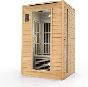 Durasage 2-Person Carbon Infrared Sauna - Canadian Hemlock Wooden Sauna - 1700 Watts - Bluetooth, FM Radio & USB Input