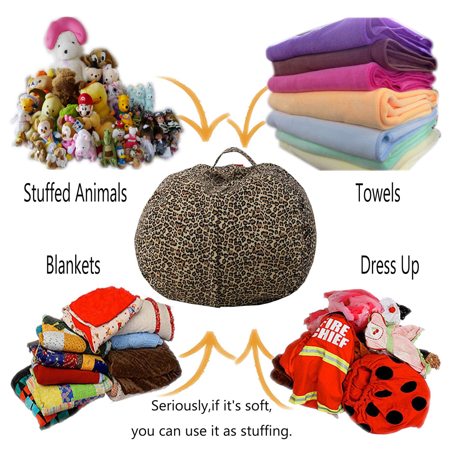 Childrens Plush Soft Toy Storage Bag Bean Bag Chair Easy Clear Leopard Print,18In Large Perfect Storage Solution