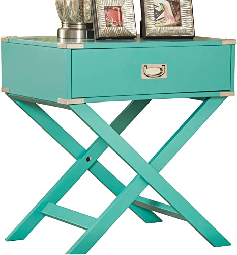 ModHaus Living ModHaus Teal Green Accent Table with Drawer Modern Rectangular Shaped with X Base Wood Finish Includes TM Pen