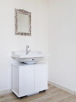 Meuble Sous Lavabo De Salle De Bain Blanc Laqué Brillant Moderne