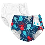 i play. 2 Pack Boys Reusable Baby Swim Diapers White and Navy Blue Octopus 12 Months