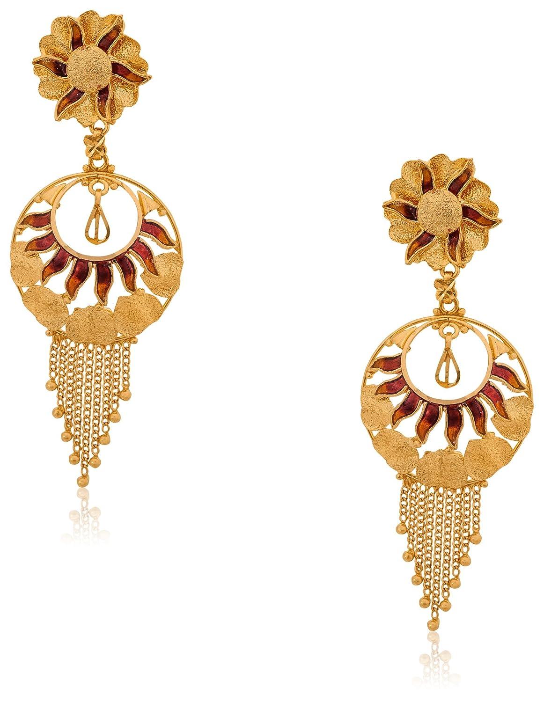 Buy Senco Gold Aura Collection 22k Yellow Gold Drop Earrings ...