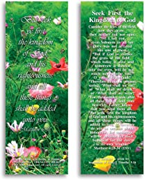 "Seek First the Kingdom of God - Pack of 25 Cards - 2""x6"""