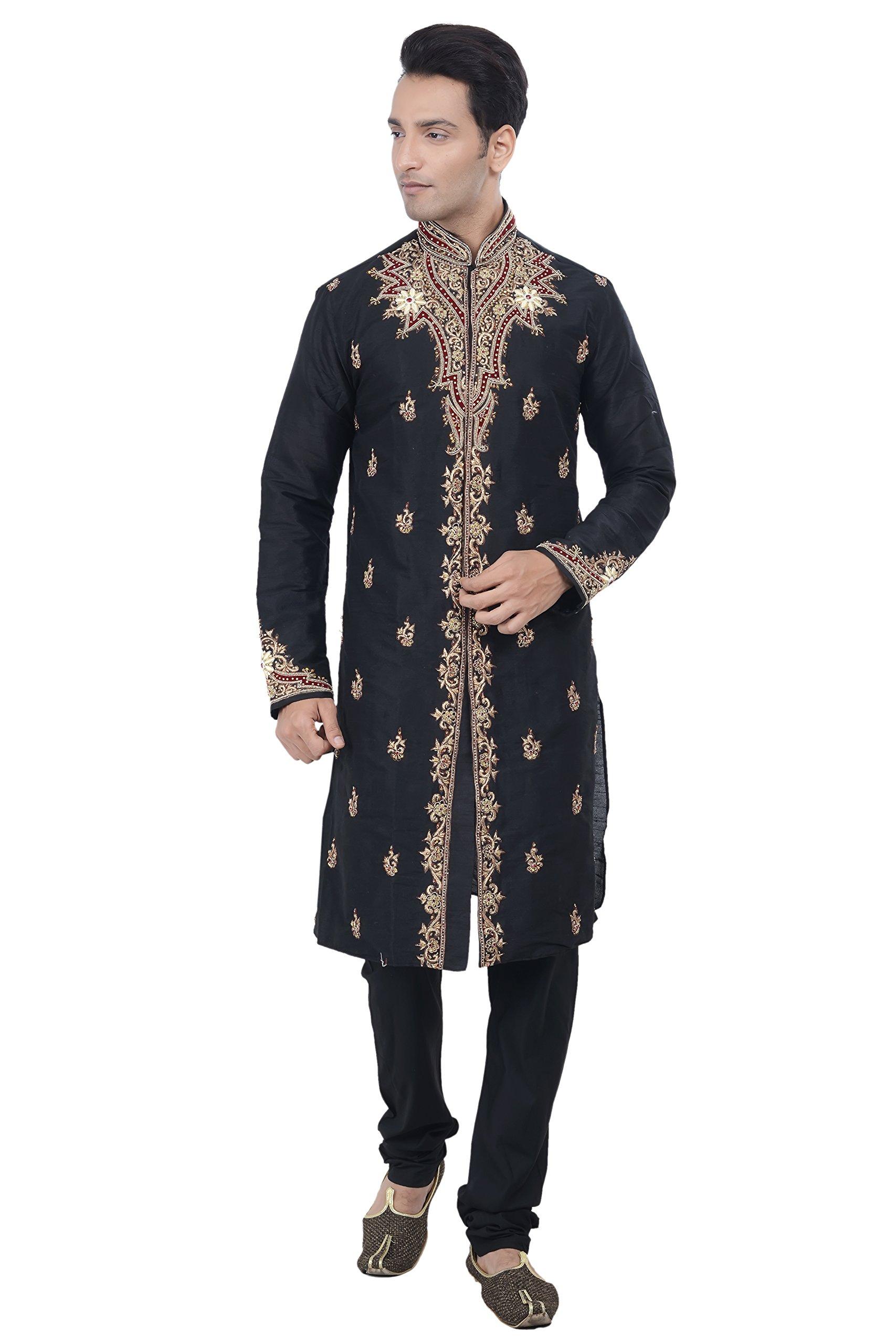 Rajwada Ethnic Indian Design Black Kurta Sherwani for Men 2pc Suit's (XXL (44))