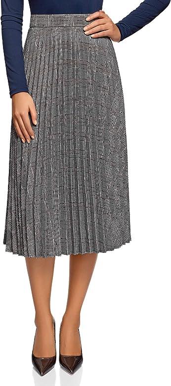 oodji Collection Mujer Falda Plisada con Cremallera, Gris, ES 36 ...