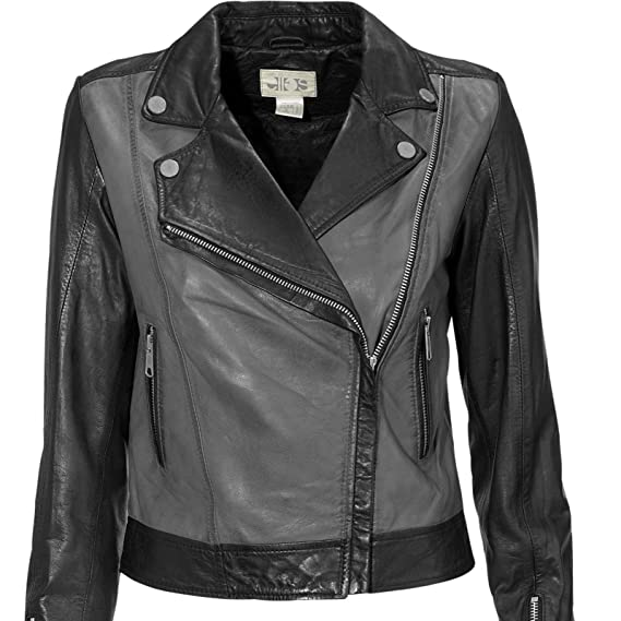 1fd611ca5 TopsandDresses Biker Jacket Women 100% Real Leather in Black and Grey in  Ladies UK Plus Sizes 6-14