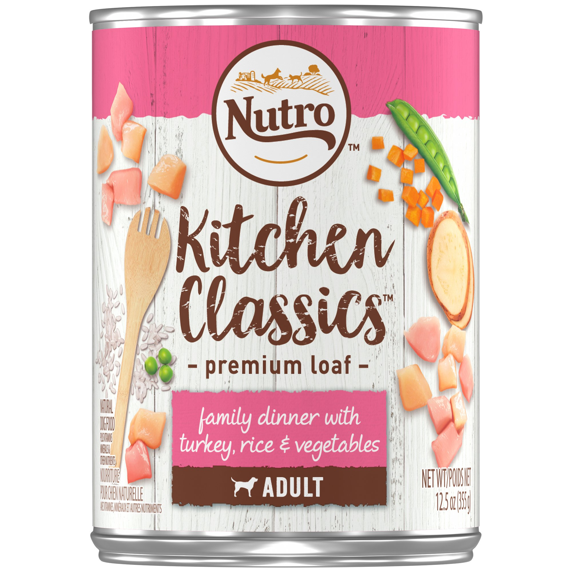NUTRO Kitchen Classics Adult Wet Dog Food, Family Dinner With Turkey, Rice & Vegetables 12.5 Ounce Cans (Pack of 12); Rich in Nutrients and Full of Flavor; Supports Healthy Digestion & Healthy Skin and Coat