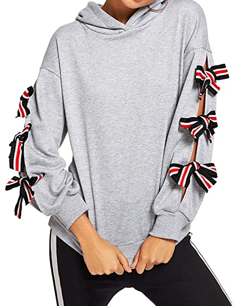 f351465107 Amazon.com  Phoenix us Women Butterfly Knot Lace Up Long Sleeve Sweatshirt  Tops Loose Hoodies  Clothing