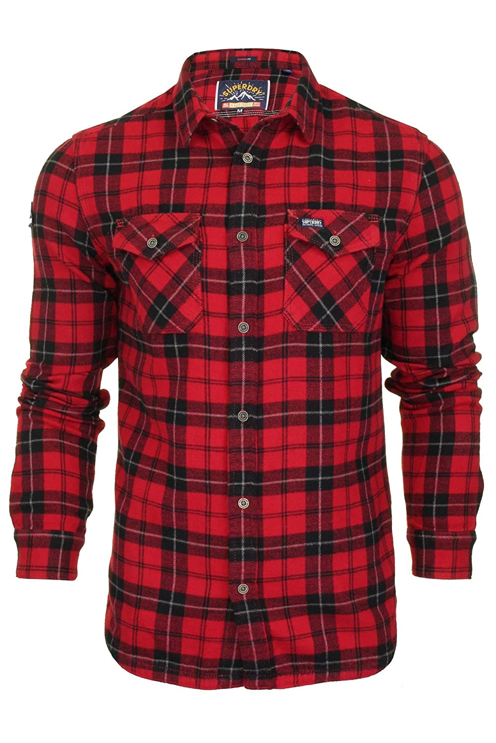 Superdry Mens Rookie Ridge Checked Shirt Red in Size Medium ...