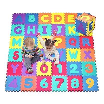 36PCS Suave Espuma De Eva Seguro Tapete De Juegos Aprendizaje Abecedario Número Puzle Rompecabezas para bebé Para Niños GB por Trimmingshop - Large: Juguetes y juegos