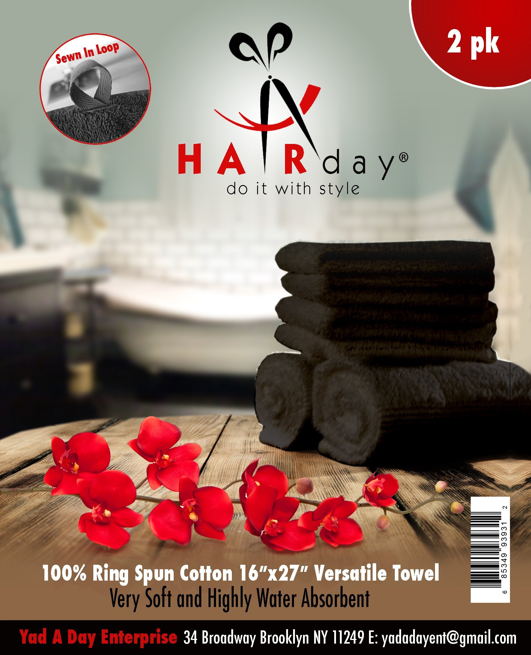 Hand Towels for Hair Salon, Spa, Gym, Home, Bath & Kitchen by Hairday Care Professionals (Two-Pack, Black)