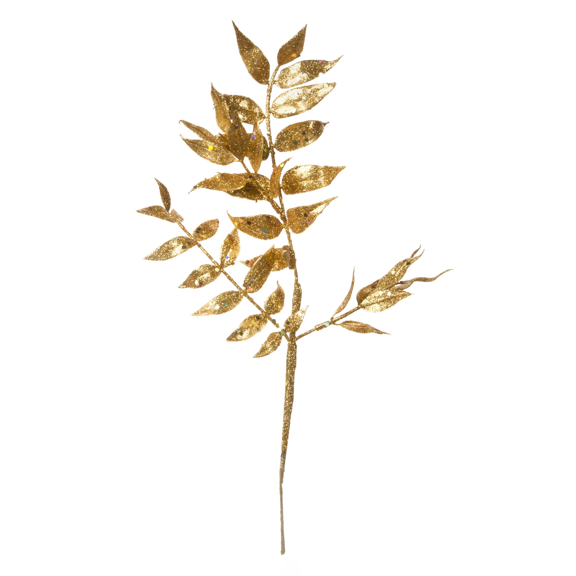 Darice Gold Leaves Pick Glitter 12 inches 4 Tips (6 Pack)