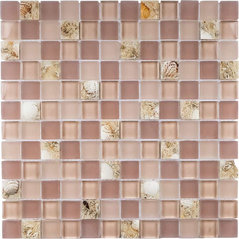 - Tile Generation- TBG-03 Pink Grid Glass Mosaic Tile Sheet