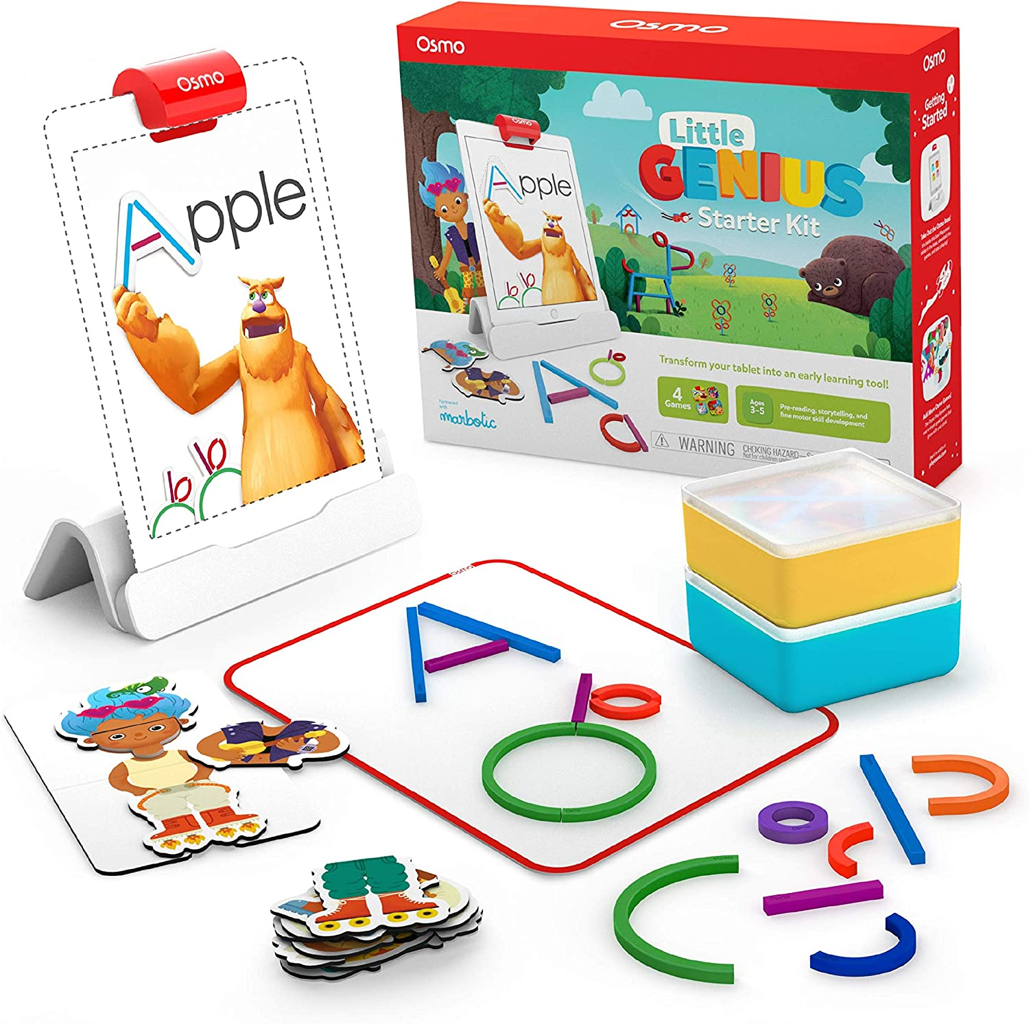Osmo Little Genius Starter Kit for iPad-4 Hands-On Learning Games-Preschool Ages-Problem Solving, Creativity iniciación Juegos de Aprendizaje prácticos (Tangible Play, Inc. 901-00010)