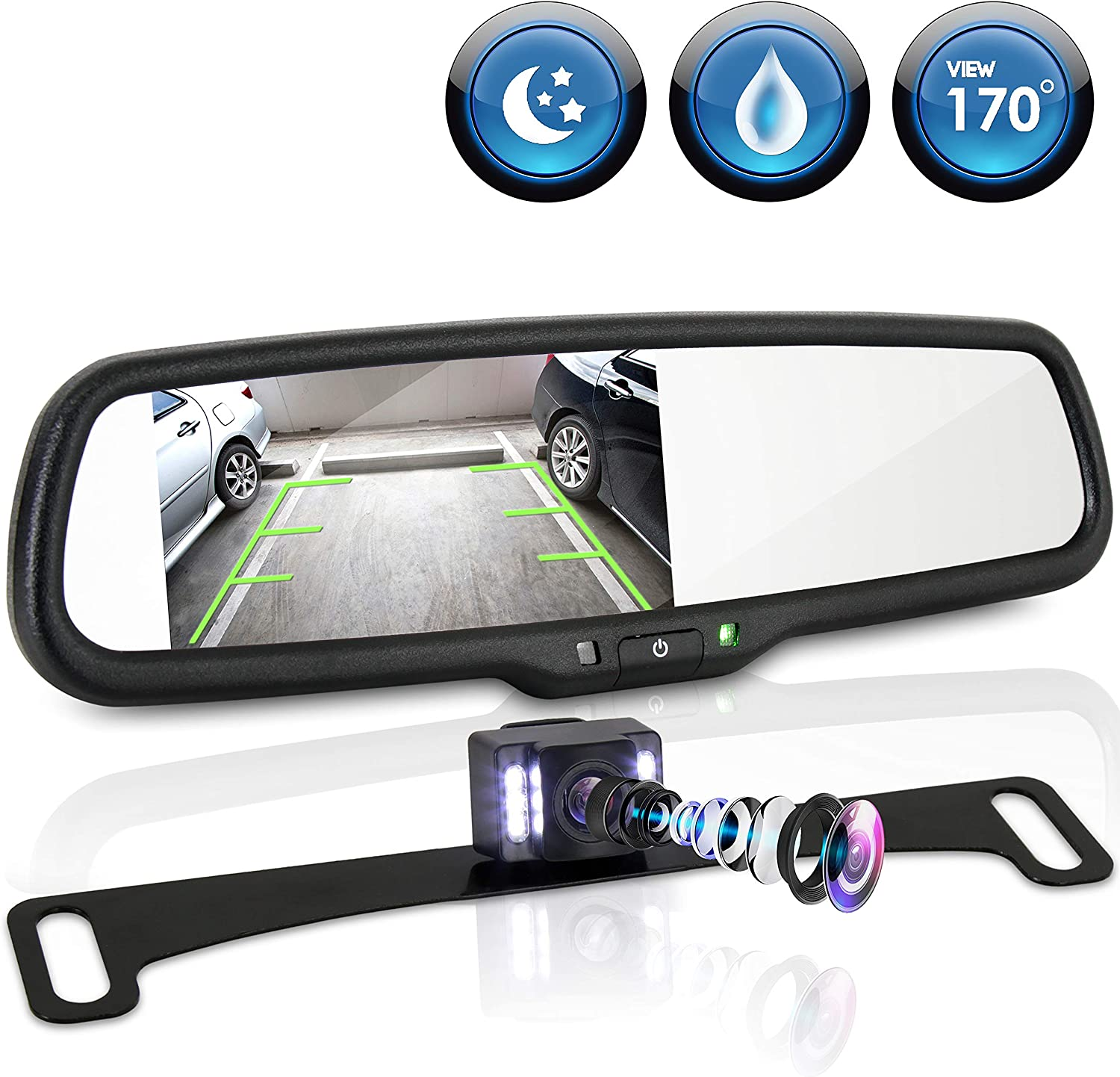 """Wireless Reverse Car Backup Camera With 4.3/"""" Rear View Mirror Monitor"""