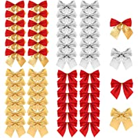 Christmas Ribbon Bows Ornaments, TERSELY 48 Pieces Christmas Ribbon Bows Ornaments Xmas Tree Bowknot Decoration Presents…