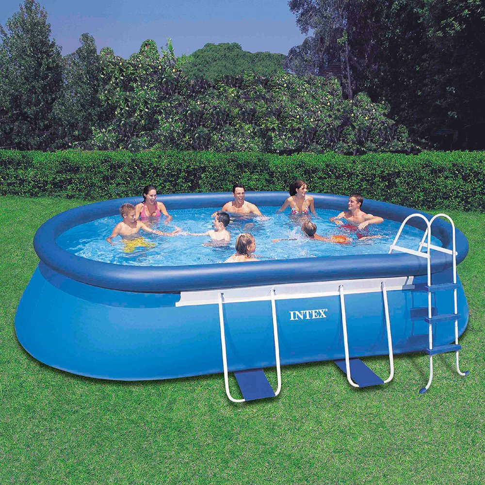 amazoncom intex 18ft x 10ft x 42in oval frame pool set with filter pump ladder ground cloth pool cover garden outdoor - Intex Pools