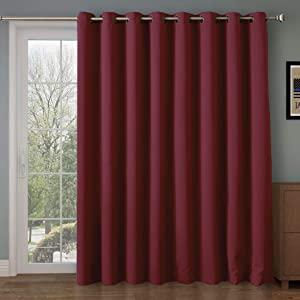 Rose Home Fashion RHF Function Curtain-Wide Thermal Blackout Patio Door Curtain Panel, Sliding Door Insulated Curtains,Extra Wide Curtains,Vertical Blinds,Grommet Curtains(Burgundy-100 by 96 Inches)