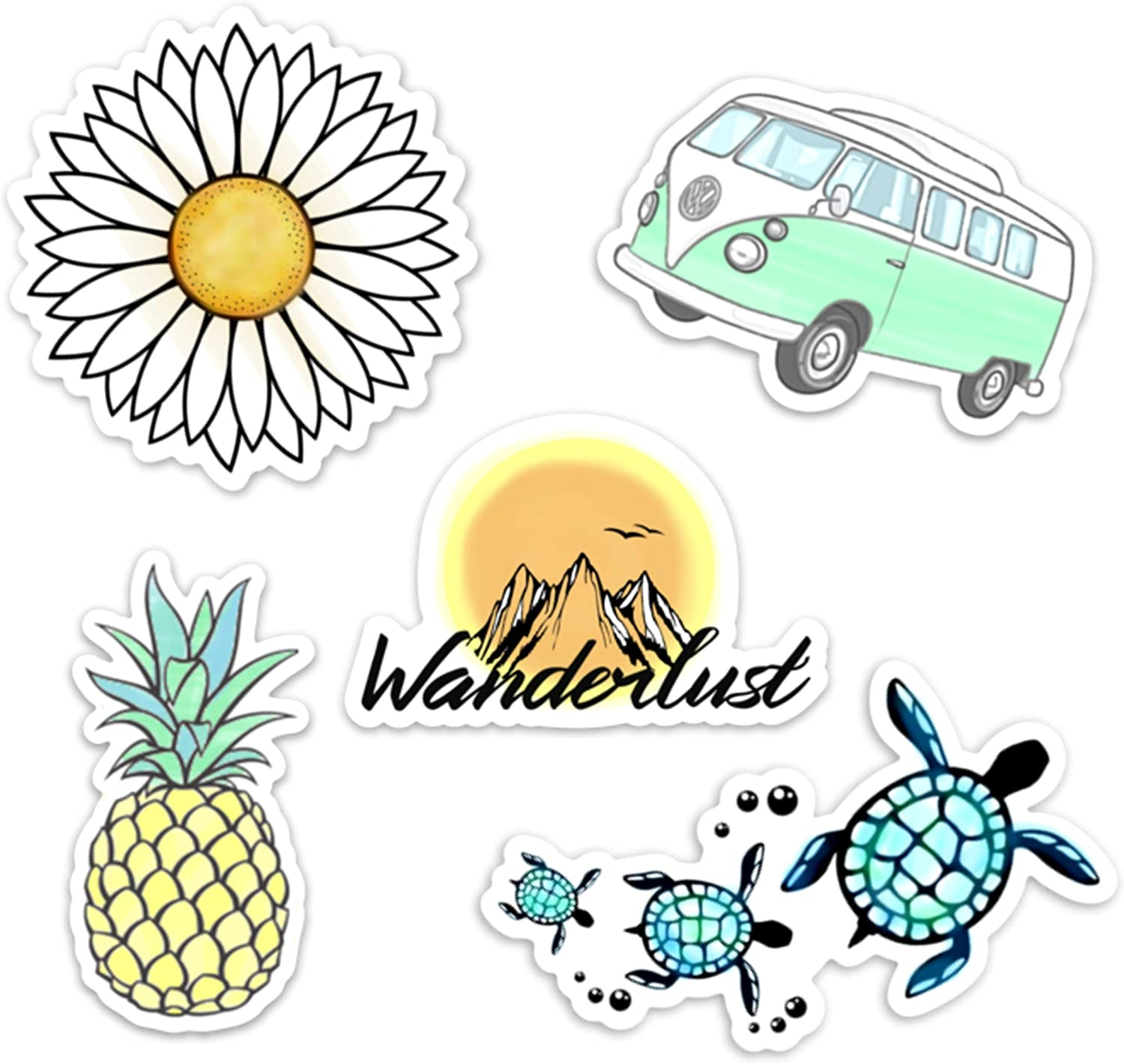 Stickers for Water Bottles– (5 Pack) Cute Waterproof and Perfect for Laptop, Hydro Flask, Yeti, Car, Phone-Trendy Decal Water Bottle Stickers-Quality Vinyl VSCO Aesthetic Sticker Pack-Made in US