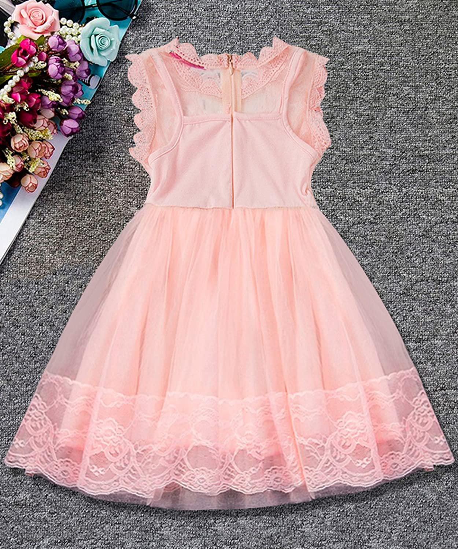 NNJXD Chica Encaje Sin Mangas Gasa Impreso Vestido de Fiesta Talla(90) 1-2 Años Rosa: Amazon.es: Ropa y accesorios