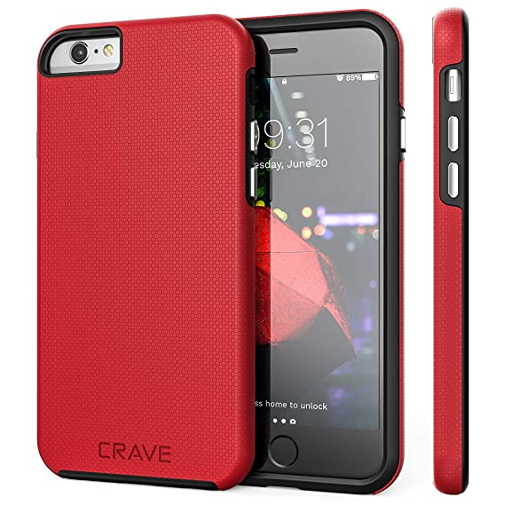 detailed look ef98c 861e5 iPhone 6 Case, iPhone 6S Case, Crave Dual Guard Protection Series Case for  iPhone 6 6s (4.7 Inch) - Red