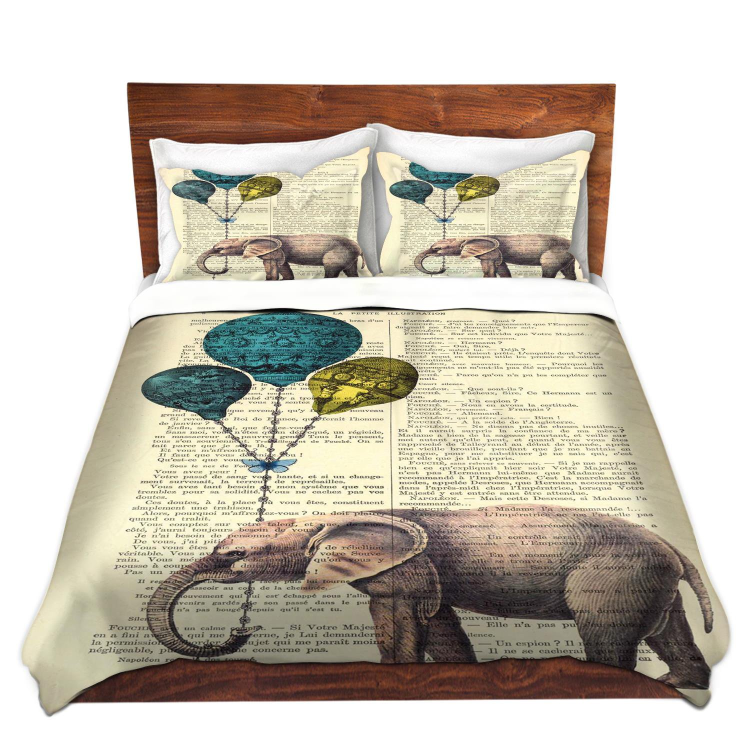 DiaNoche Designs Madame Memento-Elephant Blue Balloons Brushed Twill Home Decor Bedding Cover, 8 King Duvet Sham Set