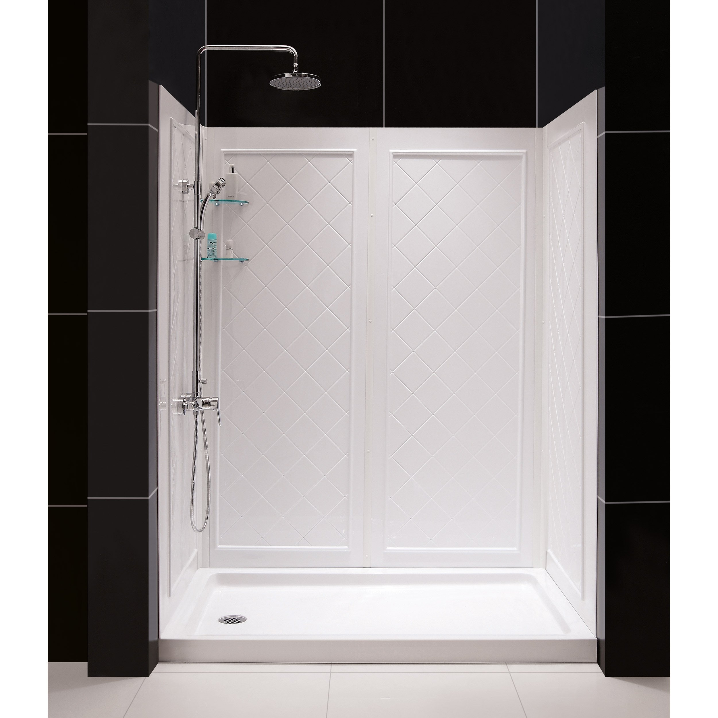 DreamLine SlimLine 36'' by 60'' Shower Base Right Hand Drain and QWALL-5 Shower Backwall Kit, DL-6192R-01 by DreamLine