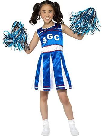 Smiffys Cheerleader Costume Disfraz de Animadora, Color Azul, L ...