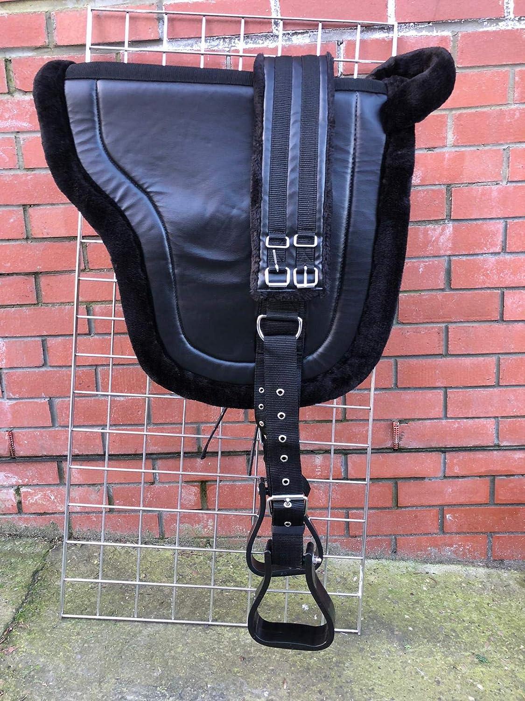 Equipride Bareback - Silla de Montar para Caballos con estribos, Color Negro