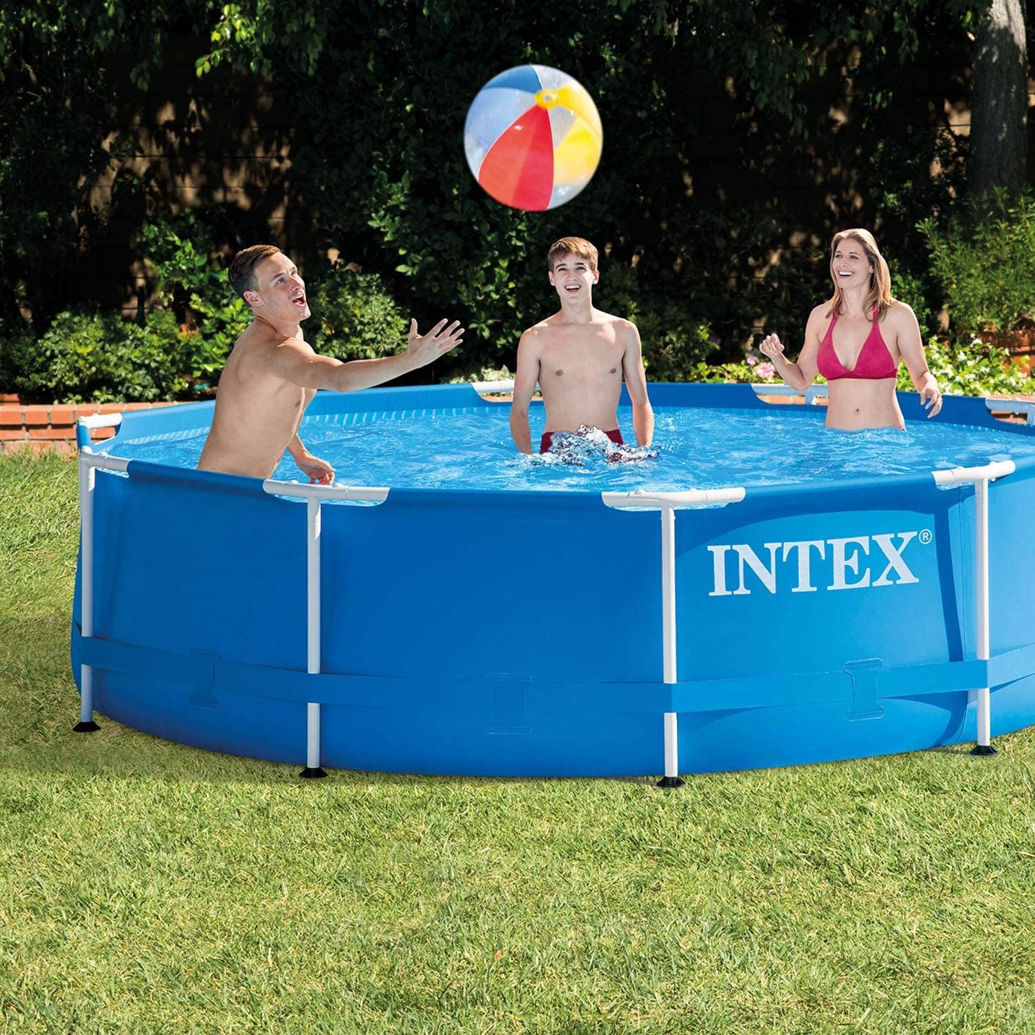 Amazon.com: Intex - Piscina redonda con marco de metal en la ...