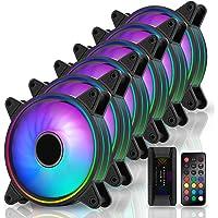 EZDIY-FAB Moonlight RGB Case Fan 120mm with Fan Hub X and Remote,Motherboard Aura SYNC, Speed Control,ARGB Computer Fan…