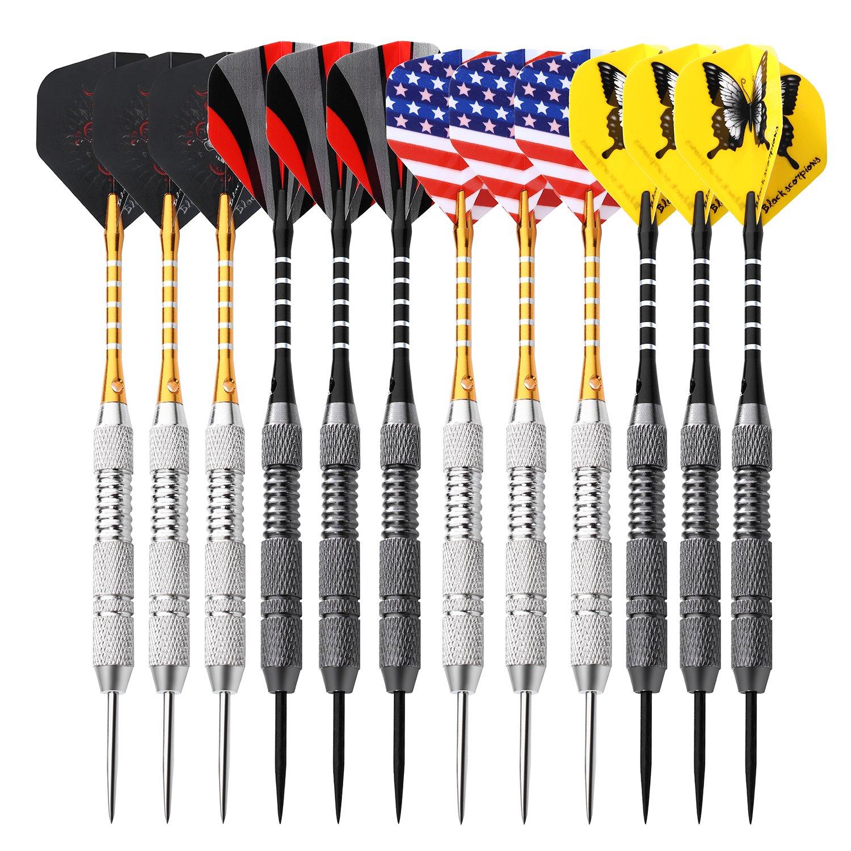 ROSE KULI Darts Steel Tip Set - 12 Pack 24 Grams Darts Brass Barrels Aluminum Shaft and Case with 4 Darts Flights by ROSE KULI