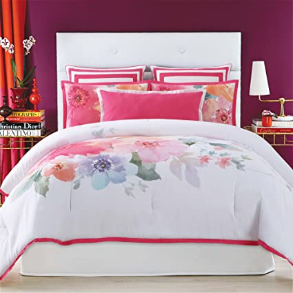 9654336cb6eab Image Unavailable. Image not available for. Color  Christian Siriano Bold Floral  Twin  Twin XL 2 Piece Comforter Set