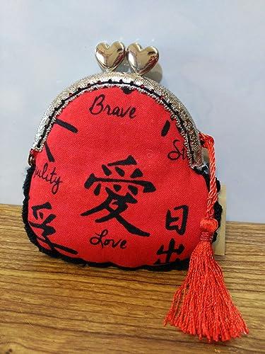 monedero tela roja con letras chinas hecha a mano con remate ...