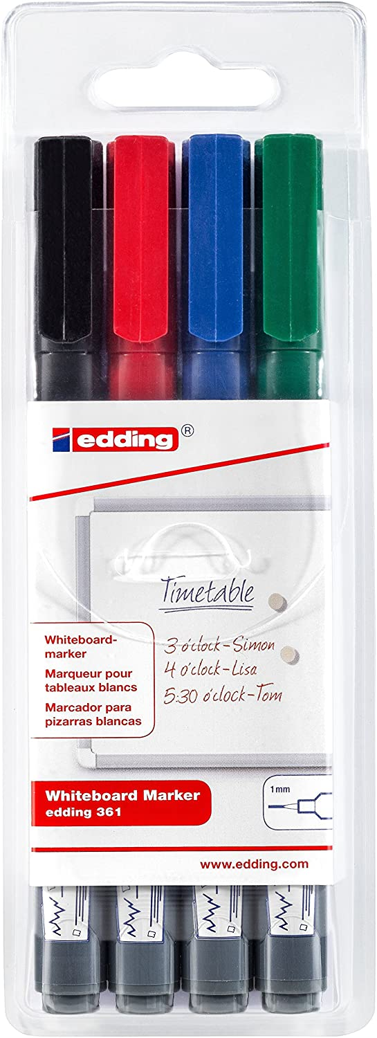 edding 361 Boardmarker Fine Bullet Tip Pack of 4 - Assorted