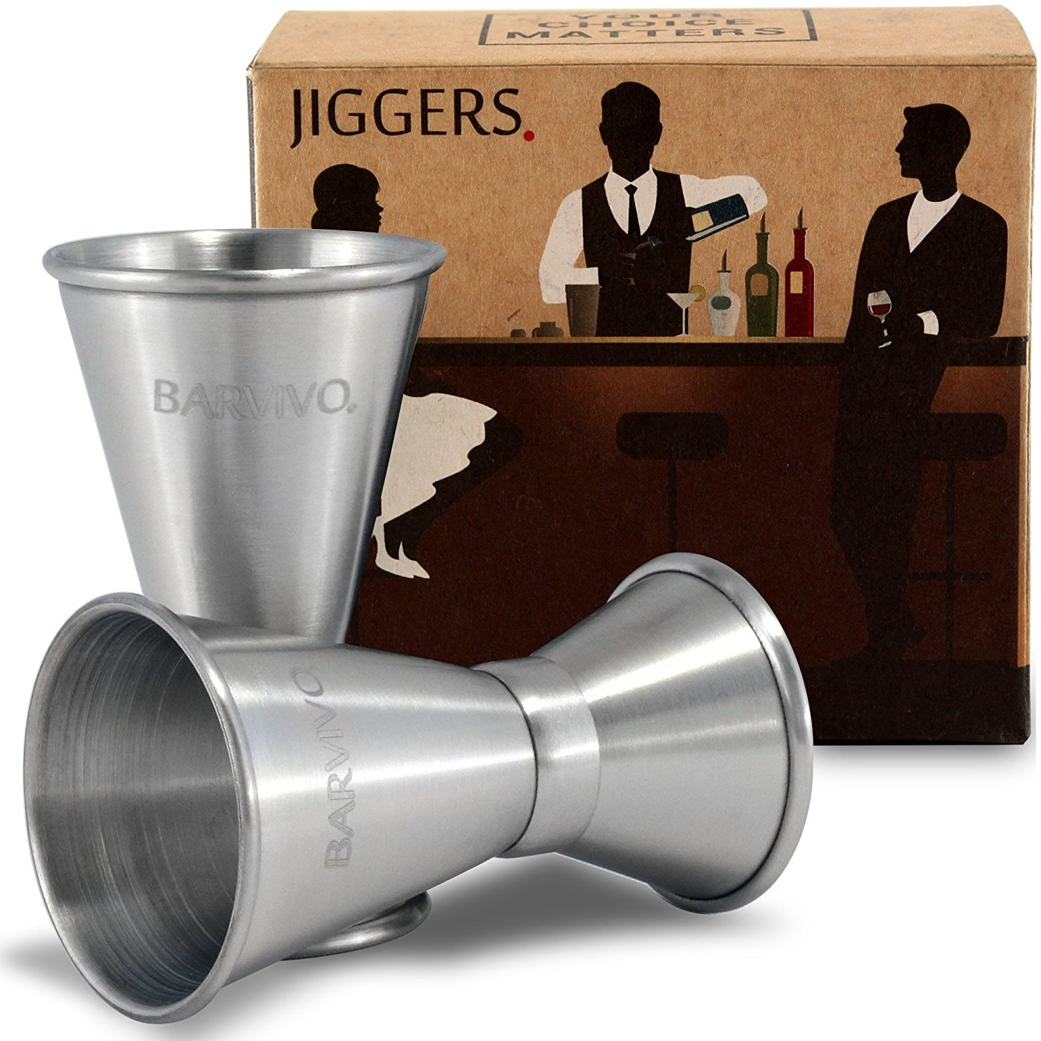 Double Jigger Set by Barvivo - Measure Liquor with Confidence Like a Professional Bartender - These Stainless Steel Cocktail Jiggers Holds 0.5oz/1oz - The Perfect Addition to Your Home Bar Tools. COMINHKPR140264