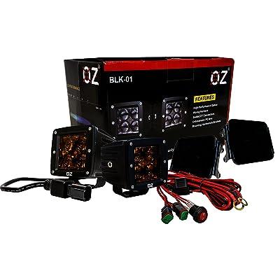 "BLK Series 3"" Black POD LED Lights (Spot Beam, Black - Amber Lens): Automotive"