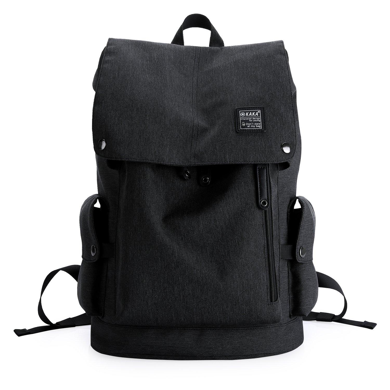 KAKA Lightweight Canvas Backpack Shoulder Daypack for 15.6-Inch Laptops Black